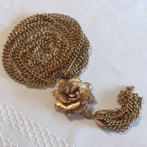Vintage Triple Chain Necklace With Flower Tassel